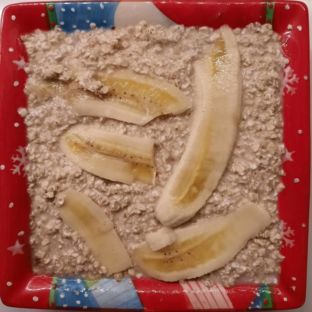 Papas de aveia no forno com banana antes de cozinhar